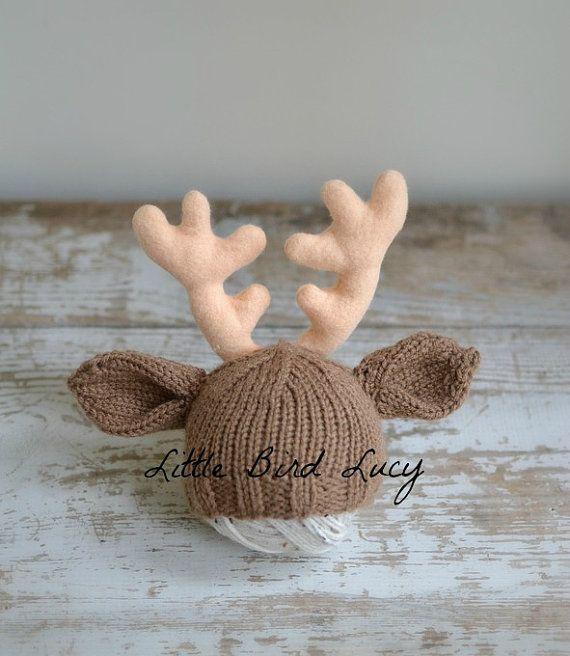 Reindeer Hat Christmas Baby Deer Hat Knit Infant by LittleBirdLucy
