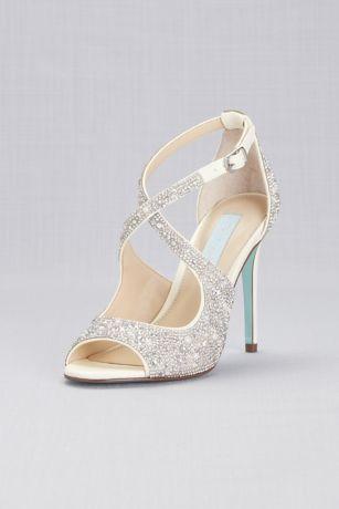 b75bfbfafbb Jeweled Cross-Strap Peep-Toe Stiletto Heels Style SBBAYLI