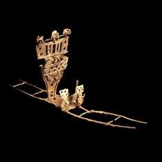 Figura votiva Oro. 600 d.C. - 1600 d.C. Pasca, Cundinamarca 8,3 x 22,6 cm / Votive Figure Gold A.D. 600 - A.D. 1600 Pasca, Cundinamarca