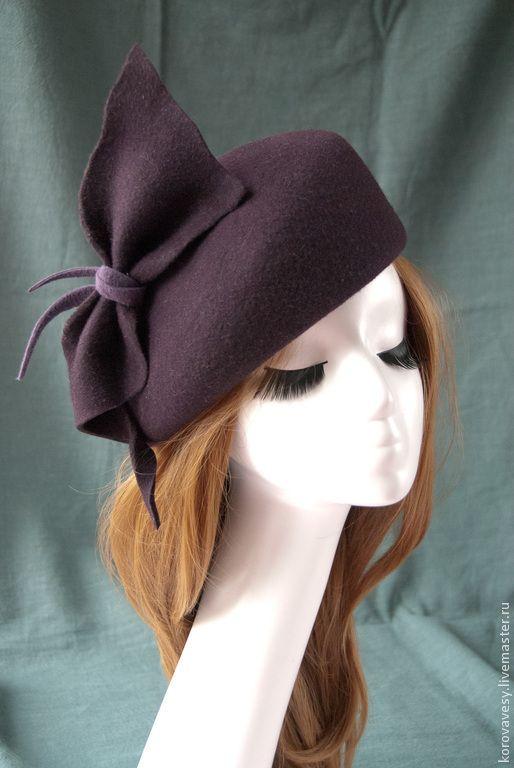 """Купить Английский фетровый берет """"Агата"""" - коричневый, фиолетовый, агатовый, фетровая шляпа, английский стиль"""