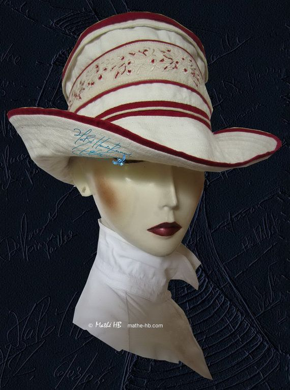 summer hat carmine red embroidery and beige sand par MatheHBcouture
