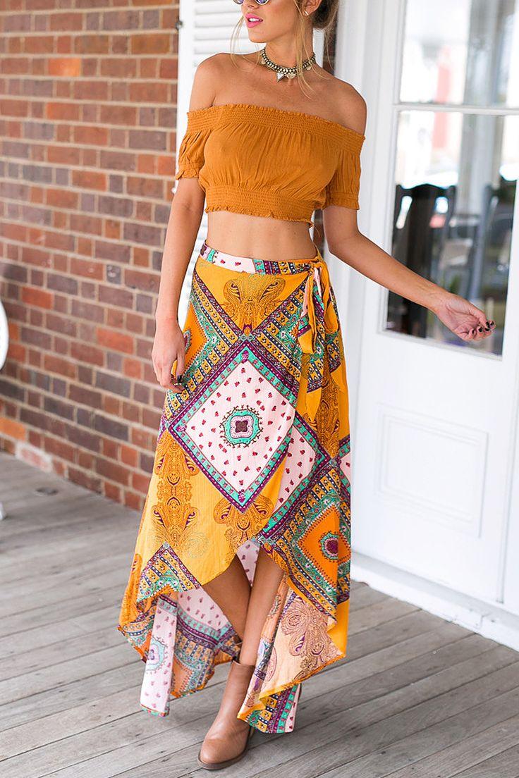 Yellow Tribal Print High Waist Maxi Skirt