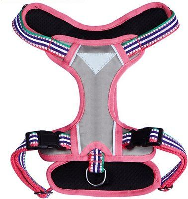 Go stylishly into the night with the Blueberry Pet 3M Reflective Multi-Colored Stripe Padded Dog Harness. Featuring reflective material throughout to add visibility during nighttime walks, this adorable, one-of-a-kind harness is perfect for the daytime too. It's made from lightweight materials for the ultimate in comfort, and the unique dual-vest design helps to distribute weight against even the strongest pullers. The striped straps pull the look—and the vests—together, for a look that will…
