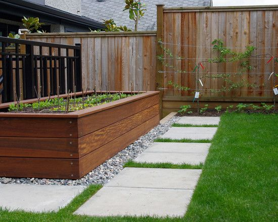 Terrace & Garden Designs, Elegant Timber For Raised Beds With Grass Like Ground Cover And Concrete Walkway At Contemporary Landscape ~ Unique Timber for Raised Beds for Vegetables Design