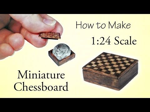 Miniature Chessboard Tutorial - Part 1 | Dollhouse | How to Make 1:24 Scale DIY - YouTube