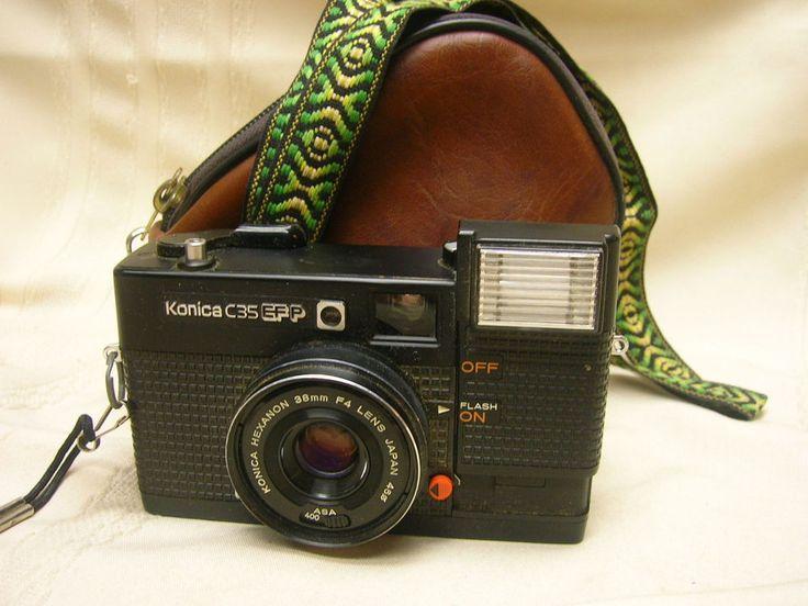 Konica C35 EF P 35mm Rangefinder Camera Hexinon 38mm F4 Lens Bag & Strap #Konica