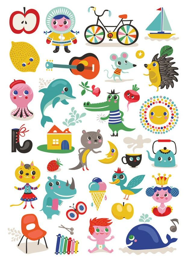 ABC poster stickers by Helen Dardik
