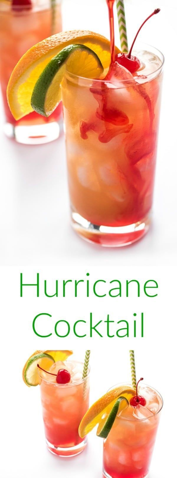 The hurricane cocktail is a fruity rum punch made famous in New Orleans. The ultimate crowd-pleasing cocktail recipe #rumdrinks