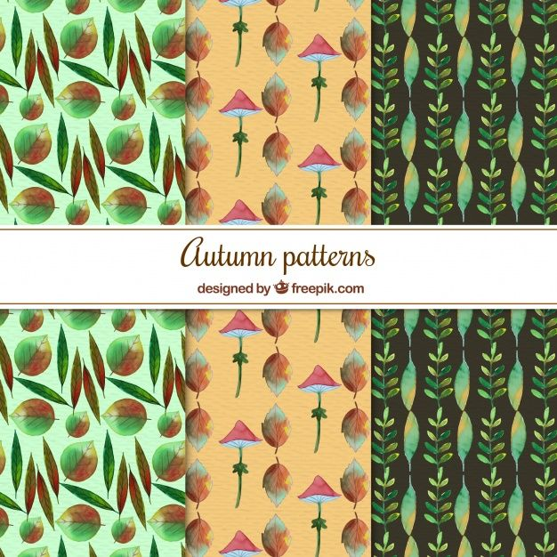 Free vector Atumnal patterns with watercolor style #22557