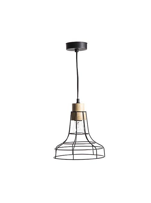 Lampadario a sospensione dallo stile geometrico, a forma di campana realizzata con fili in ferro color nero.