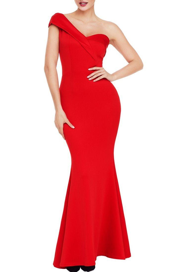 Robe de Soiree Longue Rouge Une Epaule Pas Cher www.modebuy.com @Modebuy #Modebuy #Rouge #mode #simple #unique #style