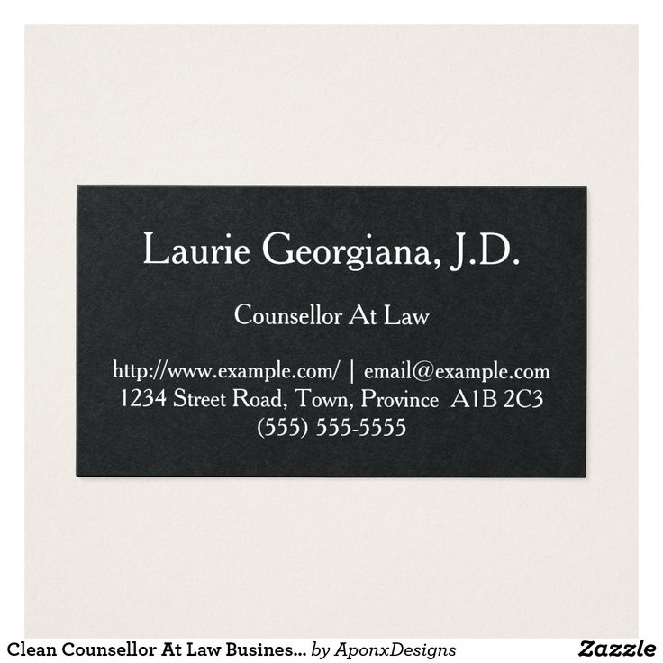 Clean Counsellor At Law Business Card