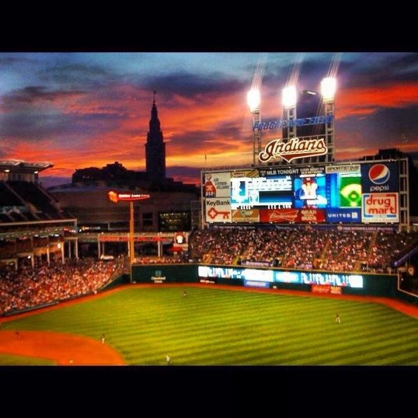 Progressive Field, home of the Cleveland Indians. GO TRIBE! Great photo courtesy of @Dom_Jurcisek