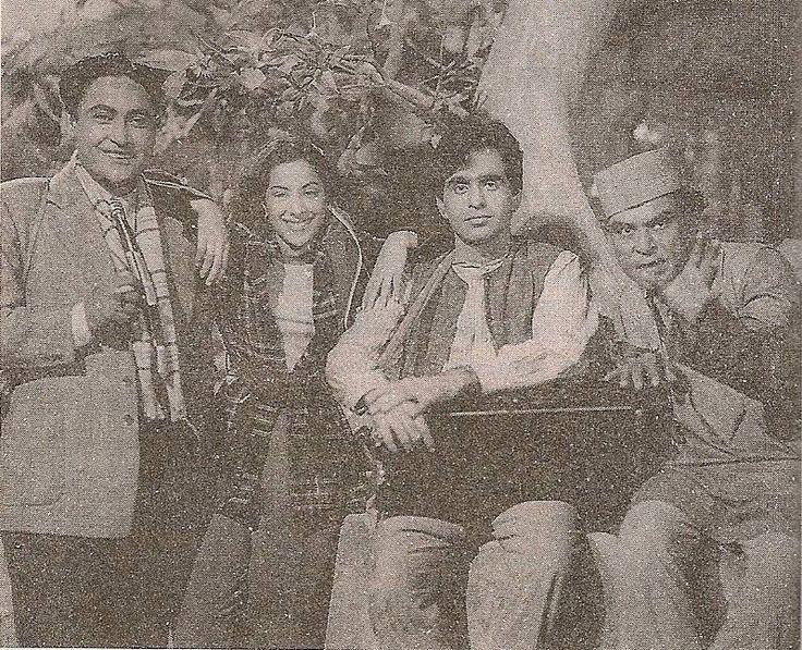 Nargis, Dilip Kumar and Ashok Kumar on the sets of 'Deedar' (1951)