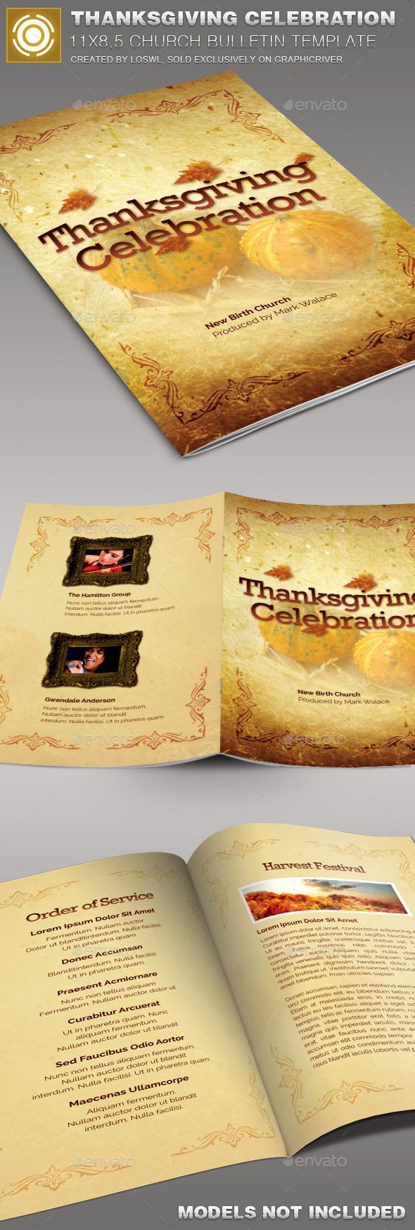 Thanksgiving Celebration  Church Bulletin Template by loswl Thanksgiving CelebrationChurch Bulletin Template issold exclusively on graphicriver, it is especially designed for Churches butcan