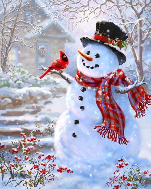 Snowman & Feathered Friend- background muted- brings emphasis to main character.