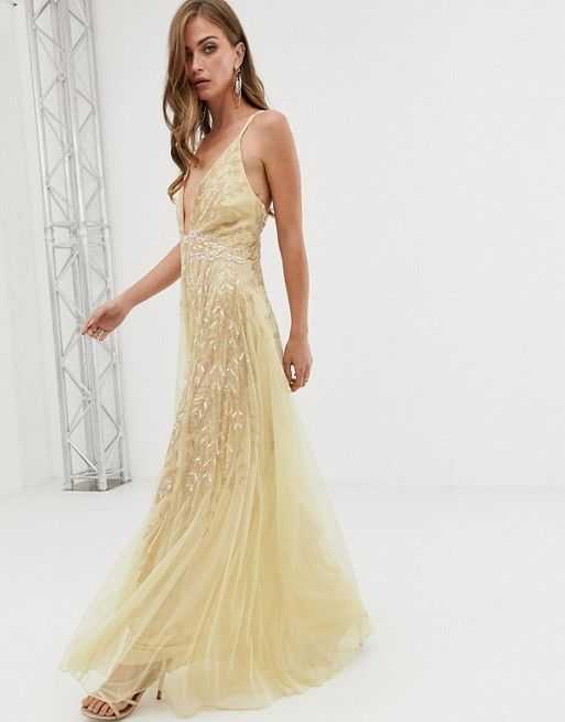 2a80dd2c56 ASOS DESIGN cami feather embellished maxi dress