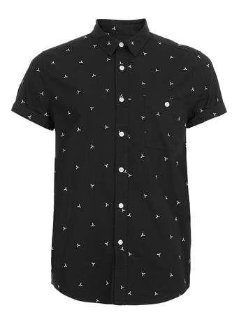 Black White Geometric Embroidery Short Sleeve Shirt - Casual Shirts - Men's Shirts  - Clothing