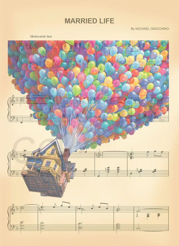 Here is a sheet music art print of Carls House and Balloons from Disneys Up. This is perfect for any Up/Disney fanatic!  We print this on quality ivory card stock paper, which measures approximately 8.5x11, and ship it in a durable envelope to ensure it arrives intact. FRAME NOT INCLUDED.  11x17 Poster: $20.00 18x24 Poster: $30.00 24x36 Poster: $45.00  Take advantage of our Buy 2 Prints, Get 1 Free special! Simply purchase any two prints in our shop, and let us know in a note which print...