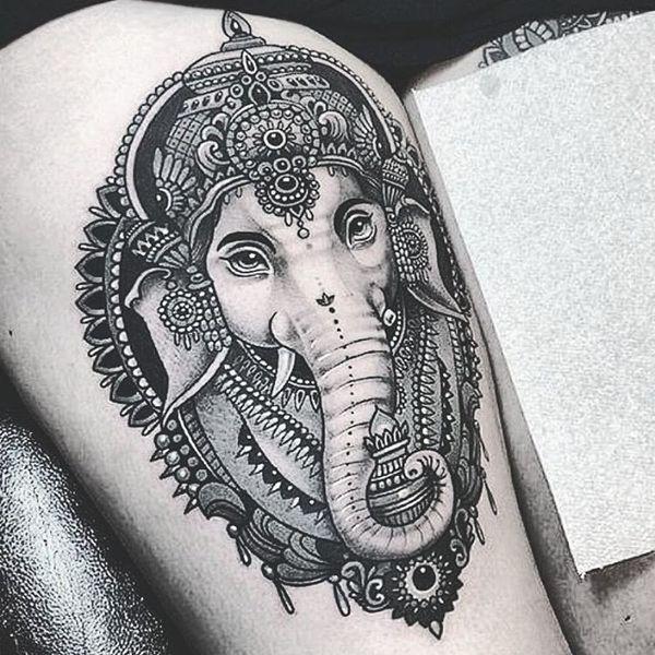 Indian Elephant Tattoos – Symbolism and Design Ideas #design #elefant #idea … #Tattoos #Ale