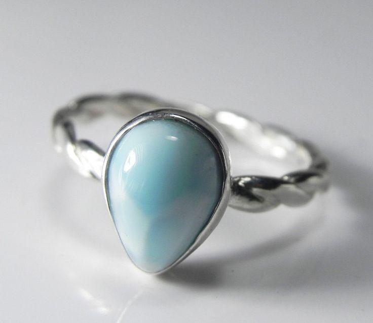Larimar Ring - Larimar Stackable Ring - Stacking Ring - Unique Larimar Jewelry - Sky Blue, Aqua Blue, Ocean Inspired. $69.00, via Etsy.