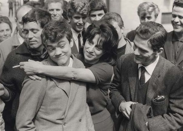 "Franco Citti, Ettore Garofolo, Anna Magnani and Pier Paolo Pasolini on the set of ""Mamma Roma"""