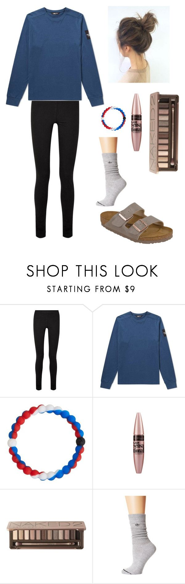 """""""Outfit with Birkenstocks"""" by lagr on Polyvore featuring The Row, The North Face, Lokai, Maybelline, Urban Decay, adidas Originals and Birkenstock"""