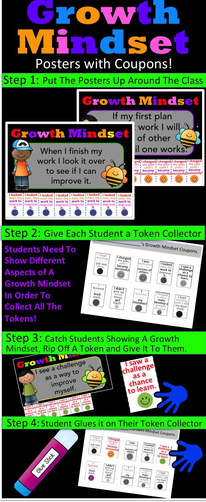 Growth Mindset Poster: Growth Mindset Reward System - Catch Students Being Good