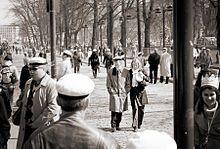 Students on Helsinki's Esplanadi wearing their caps on Vappu.