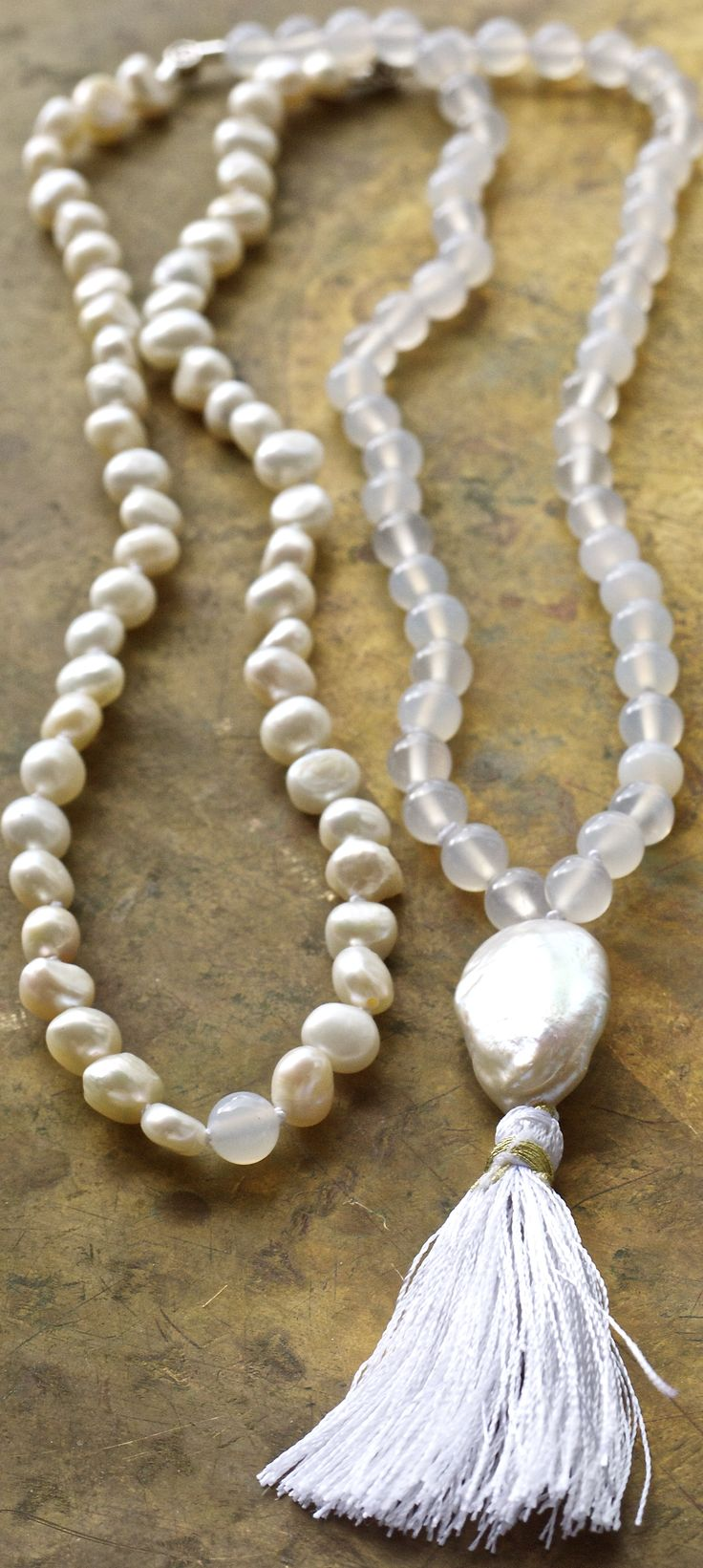 Luxe pearl and agate white mala with a fabulous baroque pearl focal bead from Pillow Book Design.