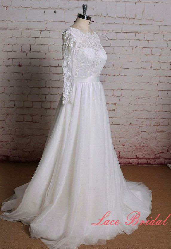 Mangas de encaje larga pura boda vestido con el ojo por LaceBridal