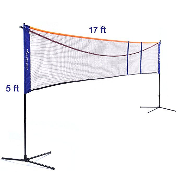 Badminton Net Stand Set Sportneer Adjustable Height 2 5 5ft Lengh