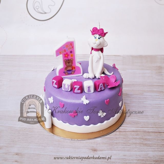 141BD Tort na roczek - Aryskotraci kotka Marie. The Aristocats cake - decorated with Marie topper.
