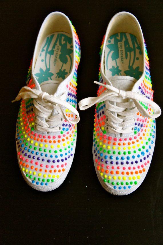 RAINBOW  DOT NEON sneakers on Etsy, $55.50