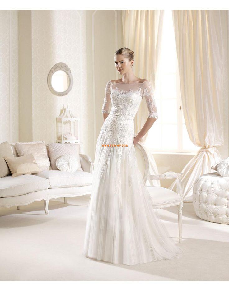 Tulle Manchon de longueur de 3/4. Appliques Robes de mariée de luxe