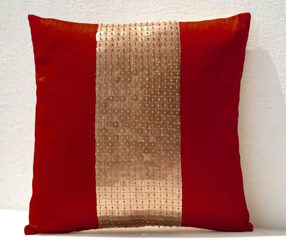 Throw Pillows Red gold color block in silk and by AmoreBeaute
