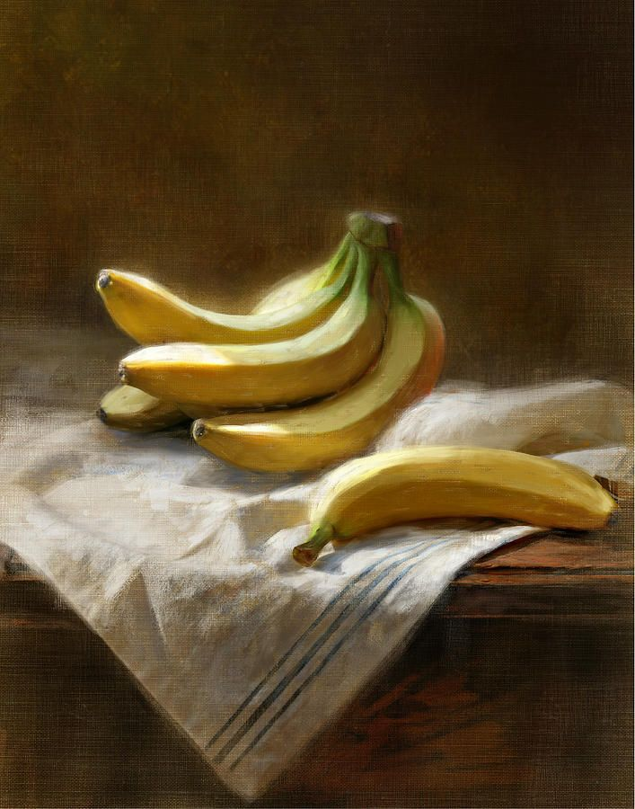 Bananas On White Painting by Robert Papp - Bananas On White Fine Art Prints and Posters for Sale