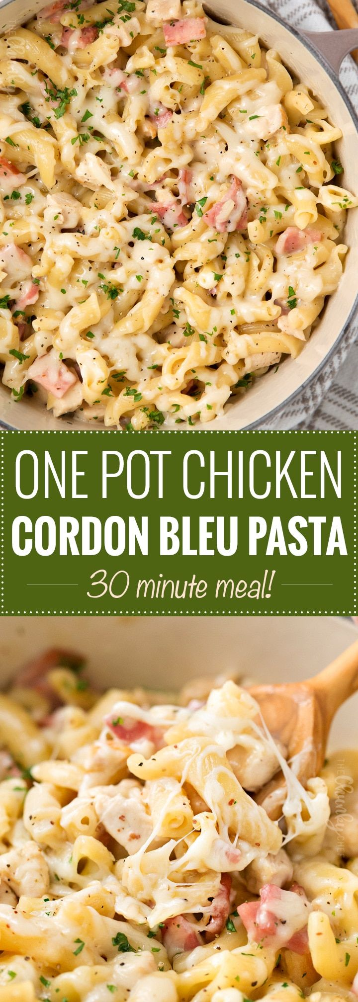 One Pot Creamy Chicken Cordon Bleu Pasta   Classic chicken cordon bleu flavors are combined with ultra creamy pasta in this one pot, 30 minute weeknight dinner recipe! The pasta cooks right in with everything else... no separate pot to wash!   https://thechunkychef.com   #chickencordonbleu #weeknightdinner #pastarecipe #onepot #onepan #30minutemeal