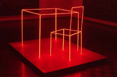 neon table and chair by joe rees, 1975 - still life with chair