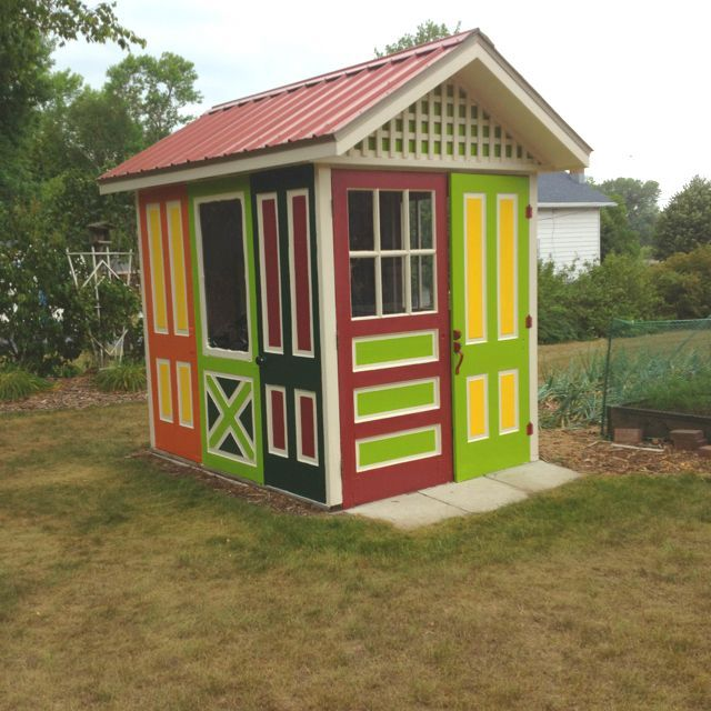 Gorgeous & Colorful shed made of ten recycled doors