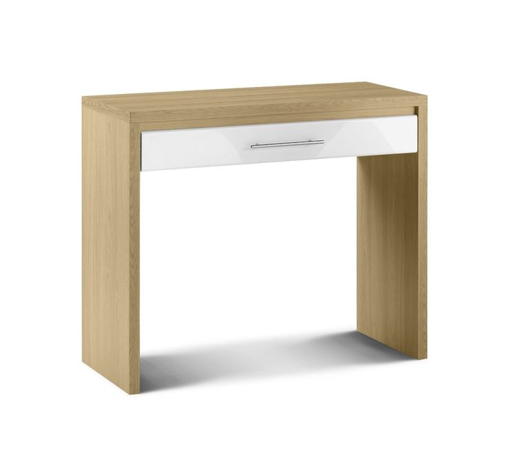 Julian Bowen Stockholm White High Gloss With Oak Finish Dressing Table