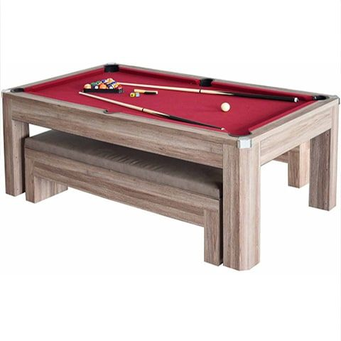 The multinational Newport 7ft Pool Table Set with Benches is perfect for any game room. This pool table comes with free shipping and no sales tax!