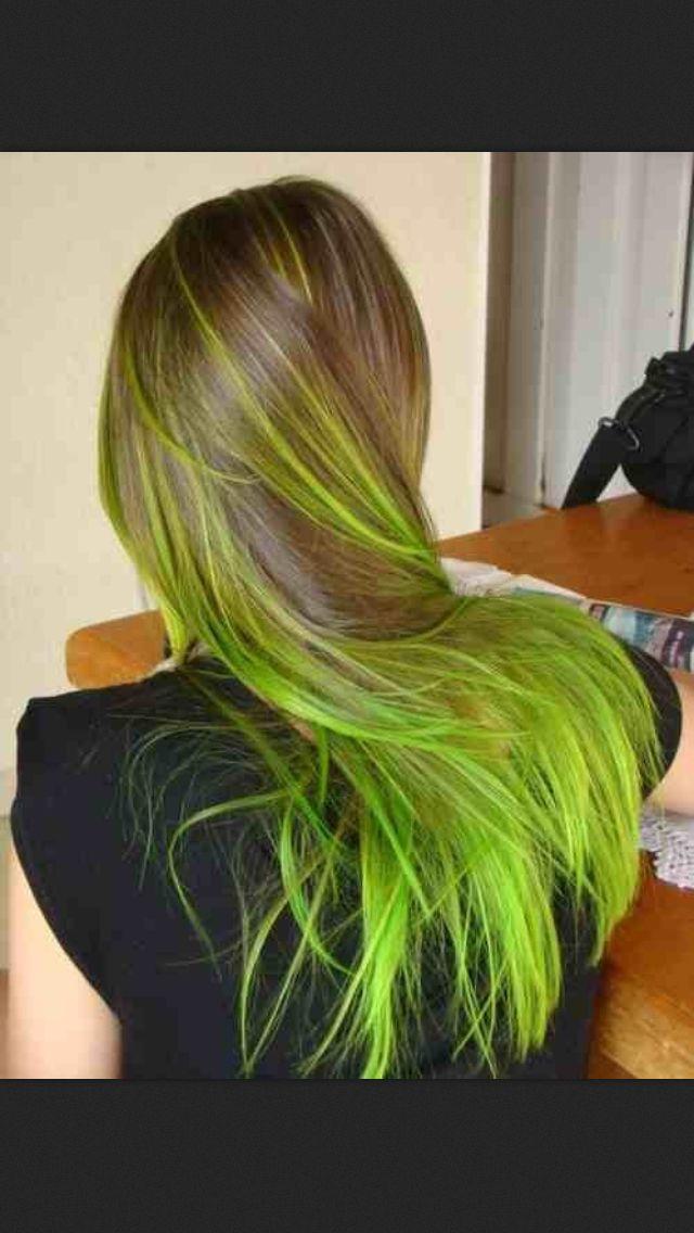Neon green hair. Amazing: Greenhair, Green Highlights, Hair Colors, Fashion Week, Neon Green, Green Hair, Hair Style, Brown Hair, Hair Trends