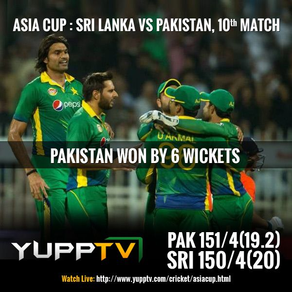 #PAKvsSL: Pak won by 6 wickets. Umar Akmal gives Pakistan team some relief with this consolation win. He is the man of the match with 48 runs. Catch the final tussle between #India and #Bangladesh on Sunday Live only on #YuppTV #AsiaCupOnYuppTV @ http://www.yupptv.com/cricket/asiacup.html