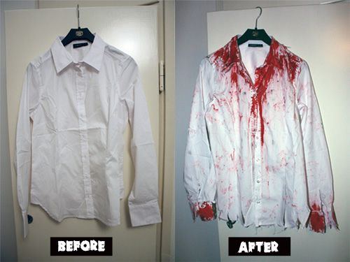 For clothing we would have volunteers bring in unwanted clothing items and stain them with washable fake blood (mint flavored!).