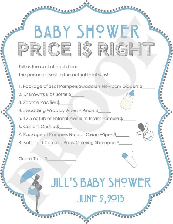 Personalized price is right baby shower game blue jpeg for Baby shower cost