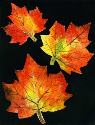 that artist woman: Painted Autumn Leaves Gesso on watercolor paper is the base for cut out leaves, then child watercolors, and could the leaf veins be printed?