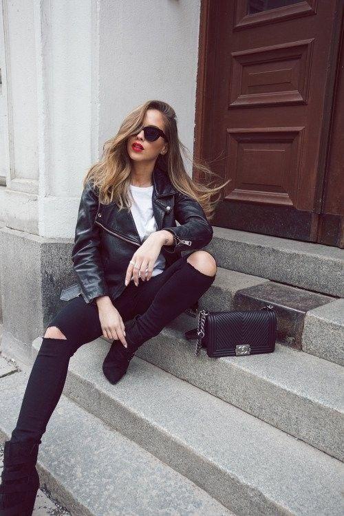 Возвращение тренда: рваные черные джинсы