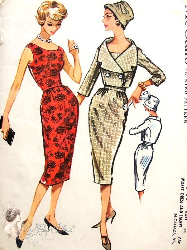 1950s Seductive Slim MIDRIFFDress and Shortie Jacket Pattern McCALLS 4649 Figure Show Off Bombshell  Sheath Dress Double Breasted Jacket Vintage Sewing Pattern Bust 34