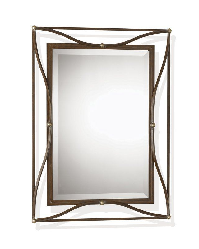 Uttermost 11547 B Thierry Beveled Mirror With Iron Frame Scratched Bronze Champagne Silver Leaf Home